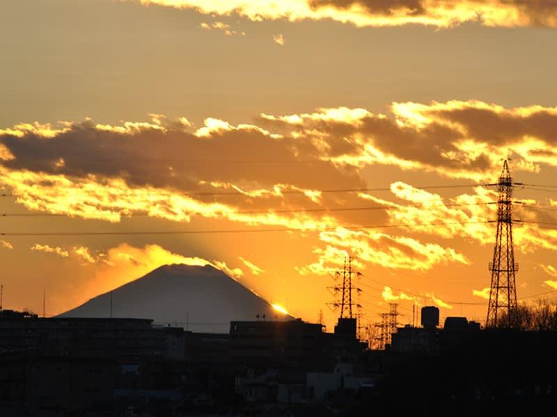12月29日 富士山に日が沈む