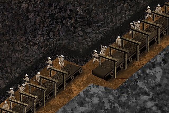軍艦島:海底坑道の3Dイラスト