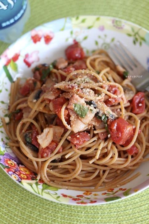 エアコン壊れる・・、トマトバジルクリームパスタ - マイティの Awesome Cooking