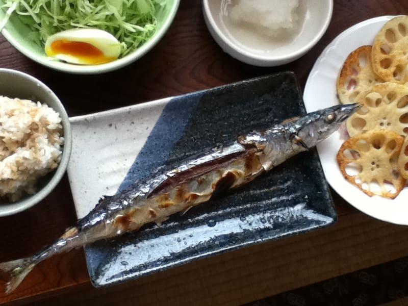 初物  秋刀魚を食す