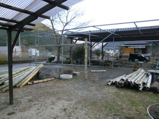 竹の風除け撤去後