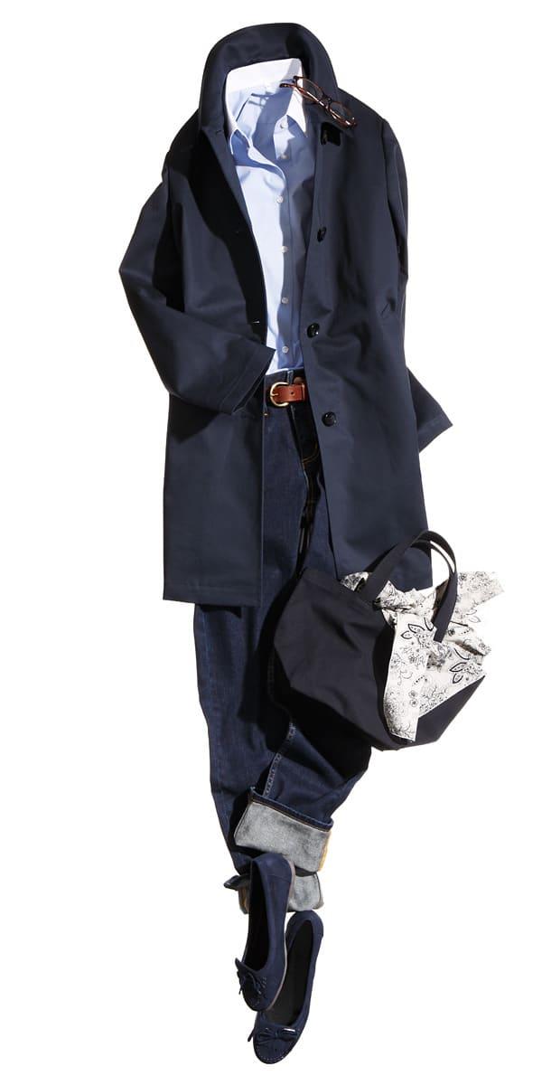 ブルーのシャツでデニムカジュアルがビジネス仕様に綿ボンディングステンカラーコート11,000円綿混ストレッチブロード七分袖シャツ2,980円オーガニックコットンデニム  ...