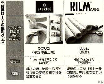 賃貸DIYグッズ ラブリコ&リルム