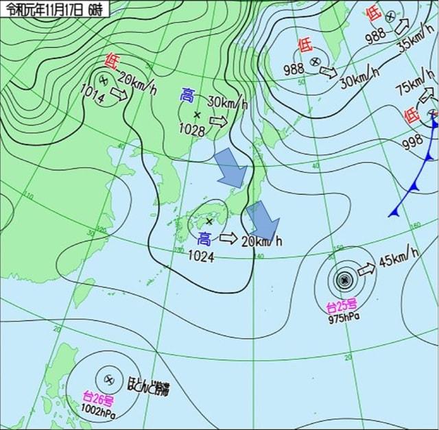 で 予想 図 天気 最も 等圧線 され る が は 荒天