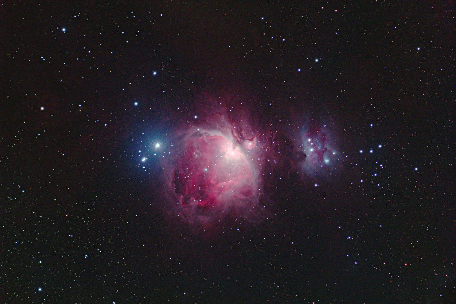 オリオン大星雲 (雪明り+月明...