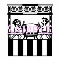 夏祭り盆踊り1夏季節行事白黒イラスト素材 素材屋