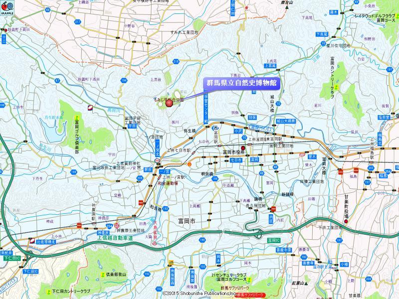 群馬県立自然史博物館の地図