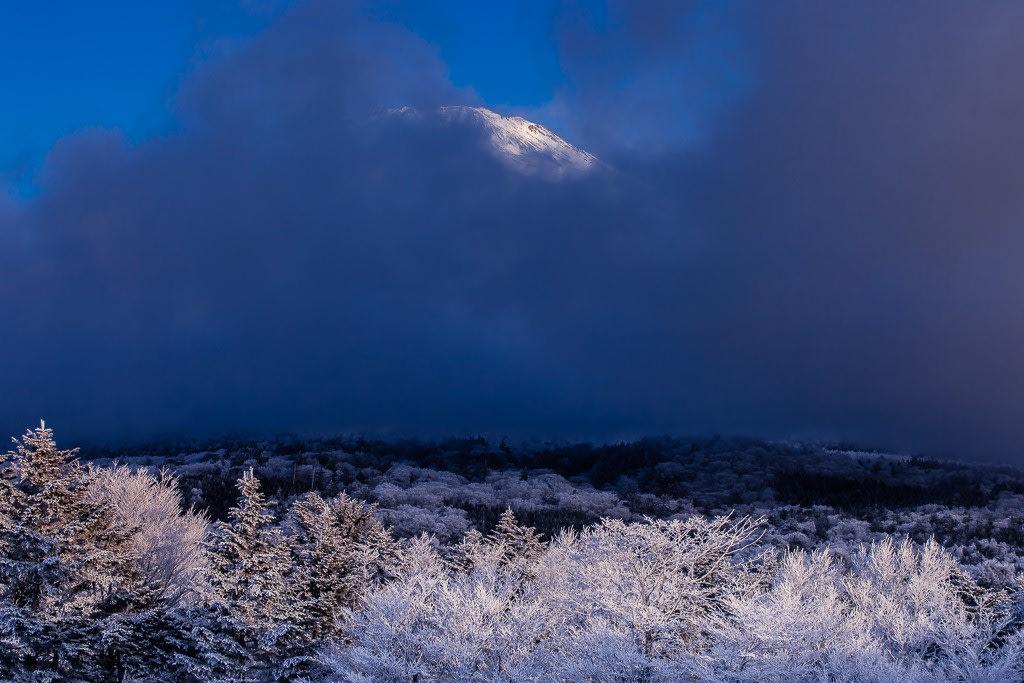 霧氷と富士の写真