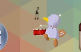 太鼓を叩きながら歩き回るコバトン