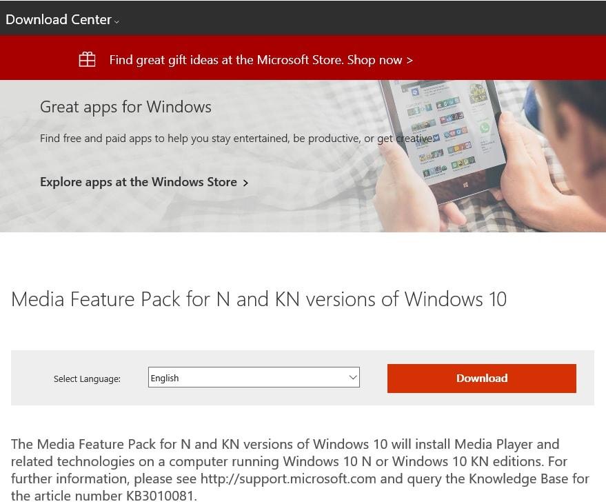 Windows10 Pro N ではMedia Feature Pack をインストールしない