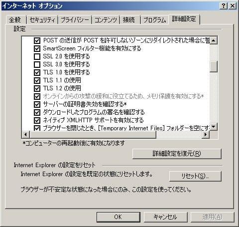 Internet Explorer オプション