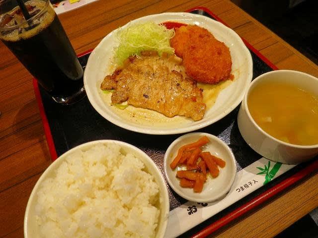生姜焼き&カニクリームコロッケ定食