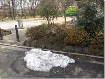 ⑤入り口に残っていた雪かきの後