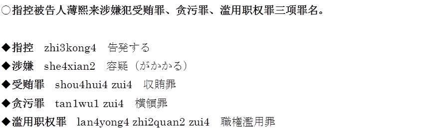 薄煕来裁判と中国語司法用語 - ...