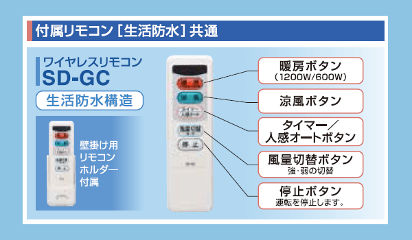 グラファイトヒーターSDG-1200GBリモコンSD-GC