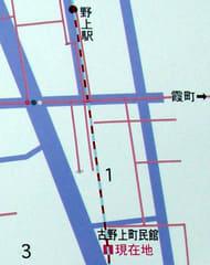 鞆鉄道野上駅跡と野上町民館の位置関係(古野上町の歴史案内より拡大)