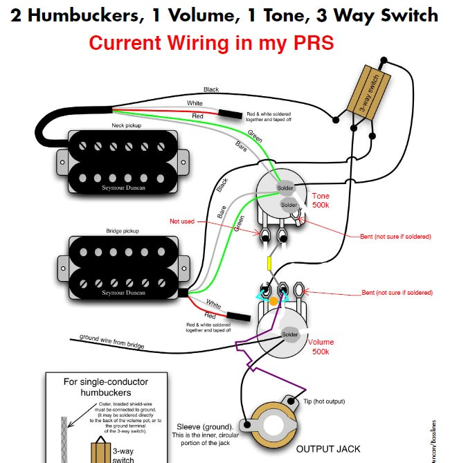 2 humbuckers 1 volume 1 tone - dolgular, Wiring diagram