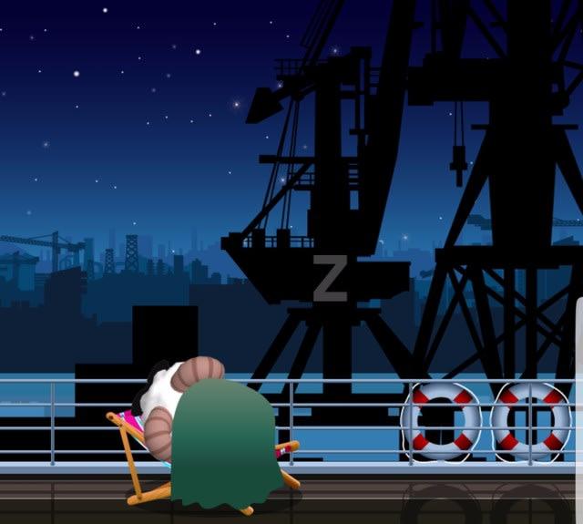 4時。深夜の港