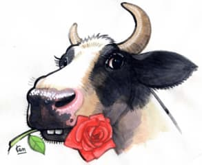 牛のイラストシリーズは新しい分野を開拓する場です ノー天気画家