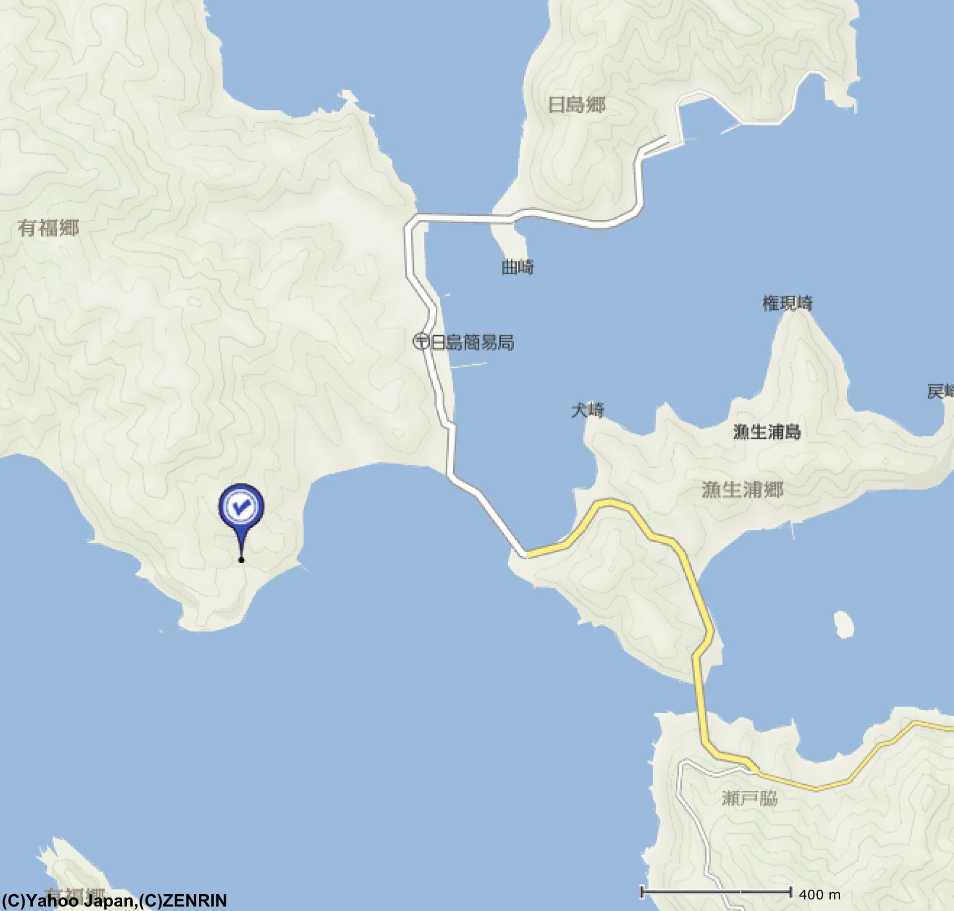 有福教会と若松島の北に連なる島...