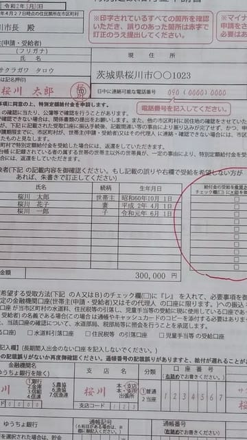 特別 定額 給付 金 申請 書 記入 例