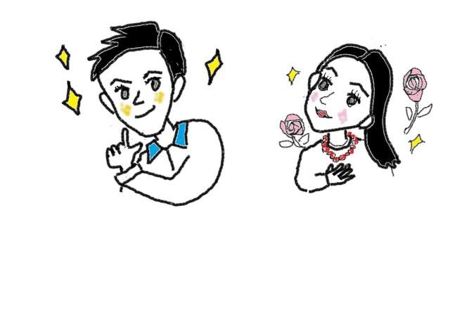 ナ形容詞 8課 ハンサムな きれいな スーザンの 日本語教育 手描きイラスト