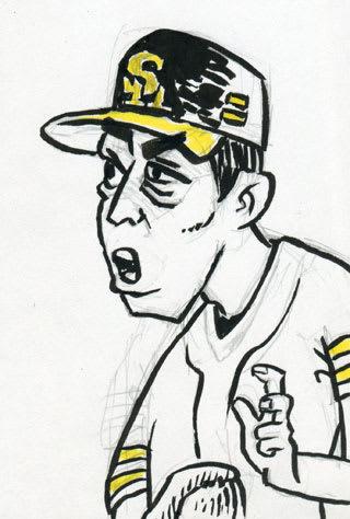 和田毅投手似顔絵画像