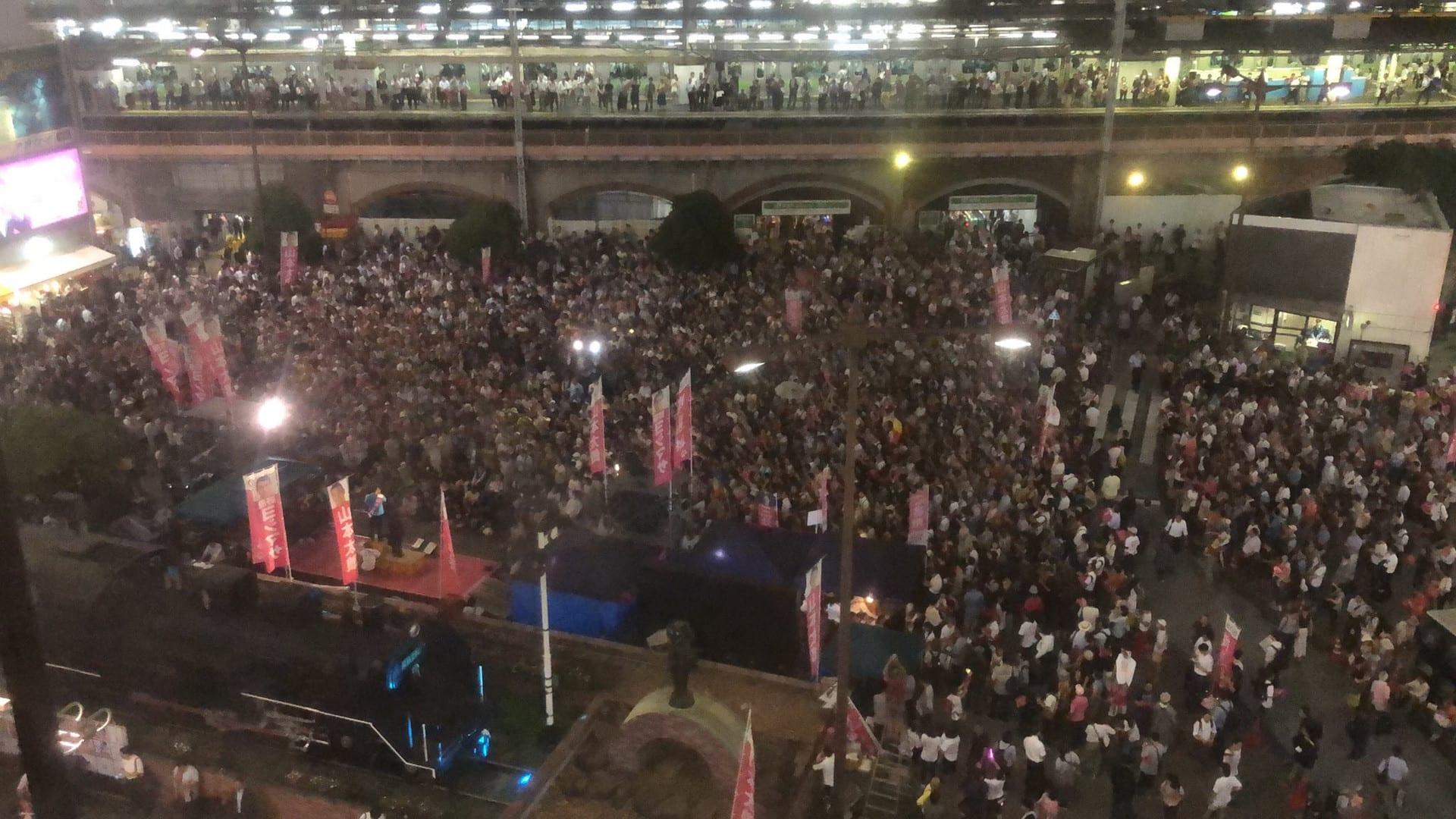 【画像】山本太郎が新橋で開催した街宣がヤバイ。埋め尽くす大聴衆、圧倒的な熱狂……これ令和革命前夜だろ