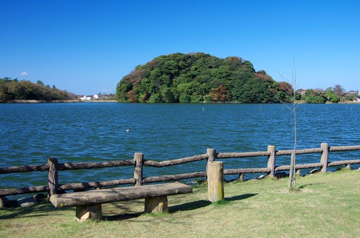 吉崎から北潟湖越しの鹿島の森