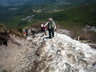 8合目下の積雪    約20m