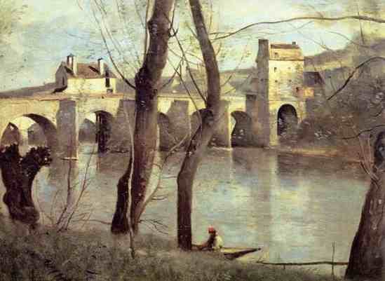 コロー作:パリ郊外「マントの橋」
