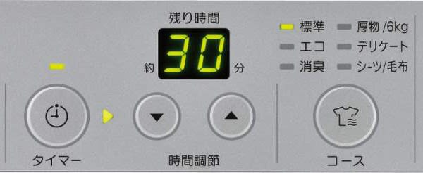 ガス衣類乾燥機RDT-52SAの操作パネル。3分割を拡大。中