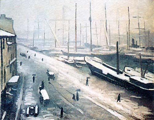 マルケ作:マルセイユ港雪景色