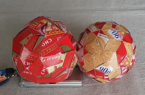 お菓子の空き箱で凧形六十面体を編んでみました~ボール遊びに使います ...