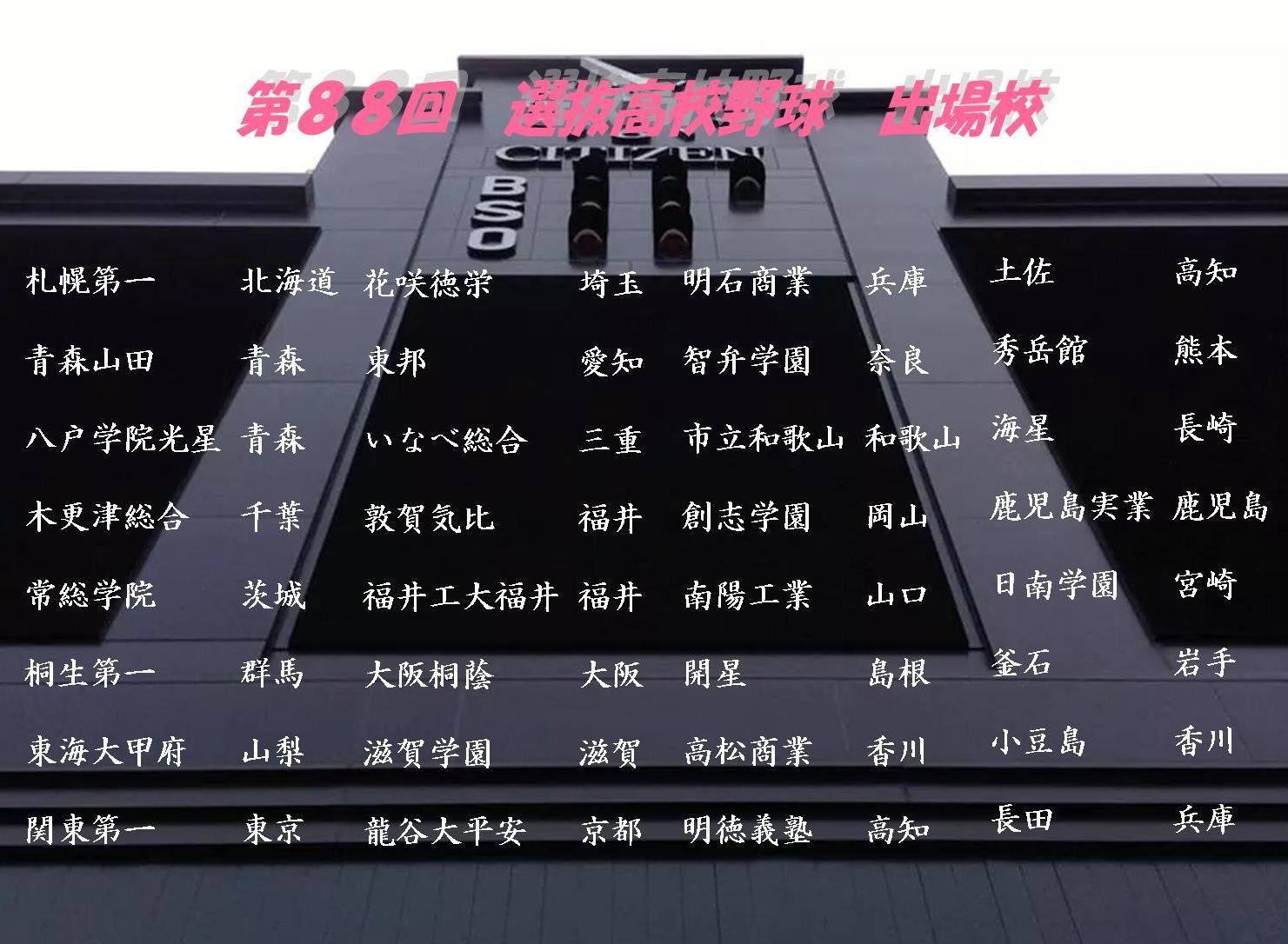 2016 春☆甲子園 選抜出場校☆彡 - 甲子園きっぷ yama's stadium☆彡