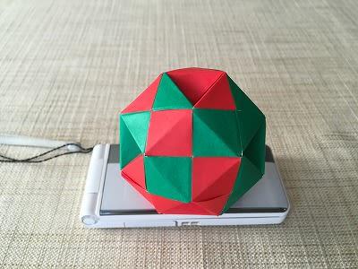 折り紙2枚で(三角形の箇所を凹ませた)斜方立方八面体 ...
