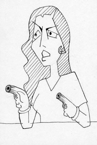 2丁拳銃の妻の野々村友紀子さんの似顔絵イラスト画像