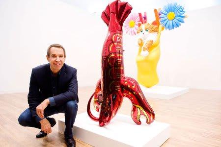 ジェフ・クーンズ訪問ガゴシアン・スタンドフリーズアートフェアでロンドンで Uhfhhfuihiuh