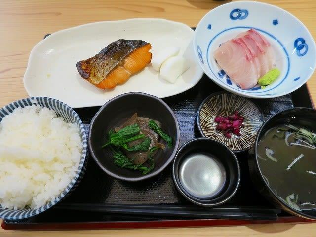 天然カンパチ刺と秋鮭柚あん焼き