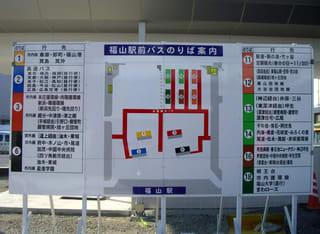 福山駅前バスのりば案内の看板