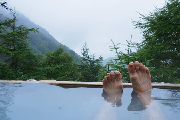 雲上の野天風呂で