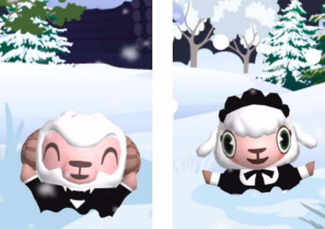 雪の中から飛び出てくるひつじのしつじくんとメイドのメイちゃん