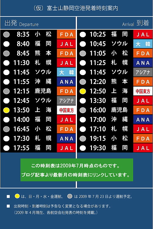 富士山静岡空港の今! その168 静岡空港時刻表 (開港まで40日 ...