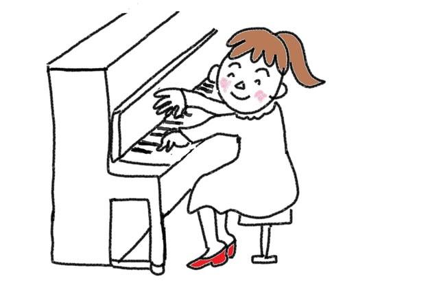 動詞 18課 弾きます スーザンの 日本語教育 手描きイラスト