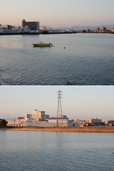 夕暮れの志登茂川河口 - 美里町...