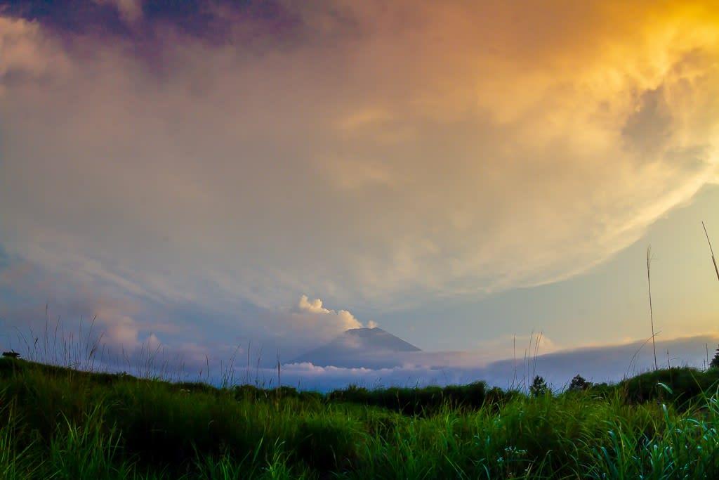 富士の夕景写真