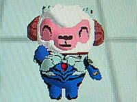 特務機関NERVのプラグスーツを身にまとったひつじのしつじくん(青)