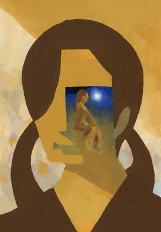 アクリルで描いたサムホールサイズの人物画
