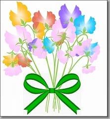 花束と緑のリボン