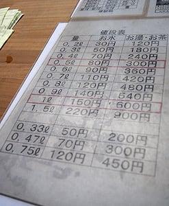 唐松岳頂上山荘_水の値段表